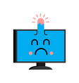 sick computer emotion with bump on head emoji sad vector image