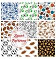 sport balls fitness items seamless patterns set vector image vector image