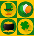 st patricks day set of icons green hat and vector image vector image