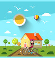sunny day with house and girl on bicycle landscape vector image vector image