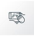 Touchscreen technology icon line symbol premium