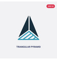 two color triangular pyramid from top view icon vector image