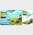 typographic posters set hiking and fishing vector image