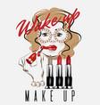 wake up make up hand drawn girl vector image vector image