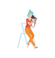 woman taking photos with sir camera female vector image vector image