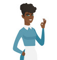 young african-american cleaner showing ok sign vector image vector image