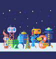 bright extraterrestrial future city set in cartoon vector image