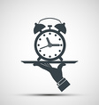 icons alarm clock on a tray vector image