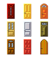 Pixel doors for games icons set vector image