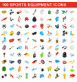 100 sports equipment icons set isometric 3d style vector image vector image
