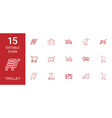 15 trolley icons vector image vector image