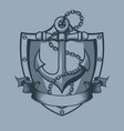 anchor shield chain and banner tattoo style vector image