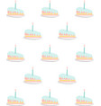 birthday cakes seamless pattern isolated on white vector image