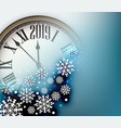blue 2019 new year background with clock greeting vector image vector image