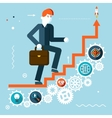 Businessman Goes Success Infographic Stairs Symbol vector image vector image