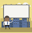 businessman standing in front a large billboard vector image vector image
