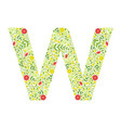capital letter w green floral alphabet element vector image vector image