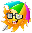 cartoon character of sun in sunglasses with umbrel vector image vector image