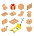 Collection of isometric cardboard boxes vector image vector image