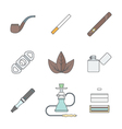 colored outline various tobacco goods tools icons vector image vector image