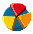 colorful pie chart icon cartoon style vector image vector image
