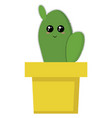 cute cactus in a pot on white background vector image vector image
