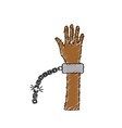cute hand up with metalic chain vector image vector image