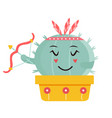 cute indian cartoon cactus vector image vector image