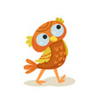cute owlet walking sweet orange owl bird cartoon vector image vector image