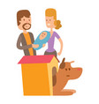 cute playing dogs with people vector image