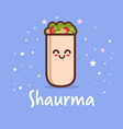 cute shaurma burrito cartoon comic character with vector image
