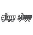 dump truck line and glyph icon vehicle and vector image