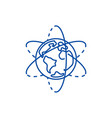earth planet line icon concept earth planet flat vector image