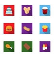 Fast food set icons in flat style Big collection vector image vector image