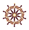 flat boat rope handwheel ship wheel helm vector image
