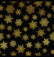 golden and black snowflakes seamless repeat vector image