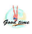good time woman diving legs up diver bikini suit vector image
