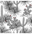 hand drawn set with saguaro blue agave and and vector image