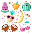 happy cartooning fruits set vector image