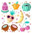 happy cartooning fruits set vector image