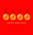 happy new year 2020 greeting card with balls vector image
