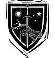 heraldic shield dragon slaying vector image vector image