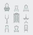 home antique furniture chairs dresser bedside vector image
