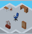isometric design set of office cabinet table and vector image