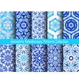 kaleidoscopic decorative blue backgrounds vector image vector image