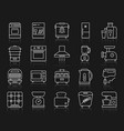 kitchen appliances simple line icons set vector image