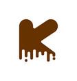 letter k chocolate font sweetness alphabet liquid vector image vector image