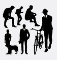 Man action silhouettes vector image vector image