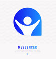 messenger icon man with hands up in speech bubble vector image vector image