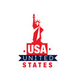 monochrome emblem with statue liberty vector image vector image
